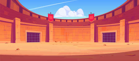 Ancient roman arena for gladiators fight. Vector cartoon illustration of empty Coliseum amphitheater for battle between warriors, barbarian and spartans. Historical fighting arena for traditional show Ilustração Vetorial