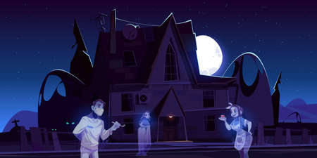 Scary old house with ghosts and cemetery at night. Vector cartoon landscape with spooky haunted mansion, graves and souls of dead man dentist and women. Halloween creepy illustration