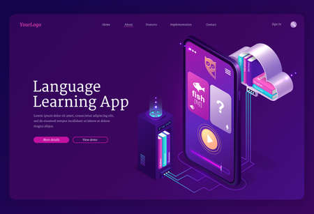 Language learning app banner. Mobile online education service, digital training foreign languages. Vector landing page with study application on smartphone screen and computer cloud with books