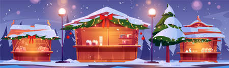 Christmas market stalls, winter street fair with wooden booths decorated with fir-tree branches and lighting garlands. Kiosks with snow, traditional sweets, gifts for sale, Cartoon vector illustration