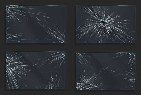 Broken glass with cracks and hole from impact or bullet shot. Rectangular shape clear acryli frames with crashed texture, scratches and breaks realistic 3d vector illustration, set
