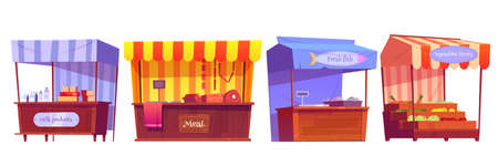 Food market stalls with fruits, vegetables, milk, meat and fish on counter and in crates. Vector cartoon set of grocery wooden kiosks with canopy, traditional marketplace tents with farm products