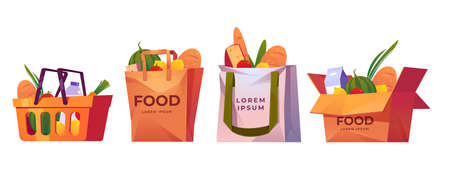 Shopping bags, supermarket basket and box with grocery. Vector cartoon set of paper and cotton bags with fruits, vegetables, milk and bread. Delivery products from market in reusable eco package