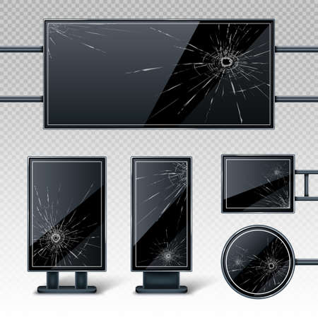 Broken blank billboards displays, empty black LCD screens or stands for advertising with holes and cracks. Horizontal, vertical, round and rectangular blank banners, isolated realistic 3d vector set