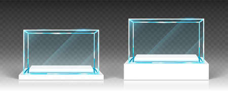 Glass showcases, display, exhibit stand, transparent boxes front view on white wood or plastic base. Crystal block, exhibition or award podium, isolated glossy object, Realistic 3d vector illustration
