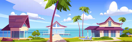 Modern bungalows on island resort beach, tropical summer landscape with houses on piles with terrace, palm trees and ocean view. Wooden private villas, hotel or cottages, Cartoon vector illustration Vecteurs