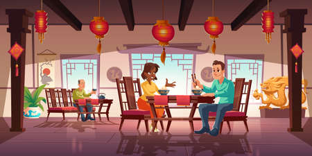People dining in asian restaurant, men and women eating noodles and drink tea in traditional chinese cafe sit at served tables. Cafeteria interior with authentic decor, cartoon vector illustration