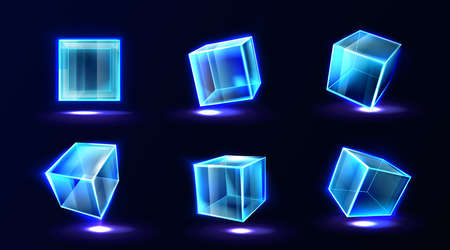 Plastic or glass cubes glowing with neon light in different angle view, clear square box, crystal block, aquarium or exhibit podium, isolated glossy geometric objects, Realistic 3d vector illustration