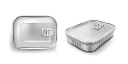 Sardine tin can with pull ring mockup top and angle view. Food metal jar with closed lid, silver colored aluminium rectangle preserves canister isolated on white background, Realistic 3d vector icons