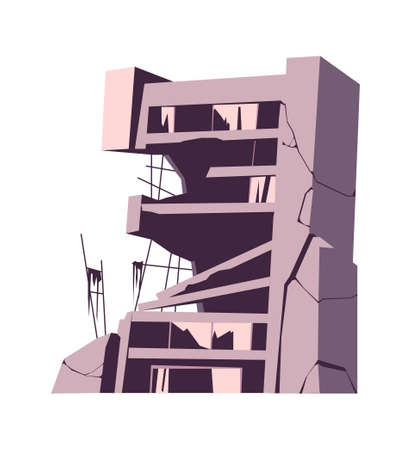 Destroyed building, damaged structure, consequences of a disaster, cataclysm or war, cartoon vector isolated illustration