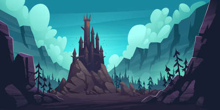 Creepy castle on rock at night, haunted gothic palace in mountains, building with pointed tower roofs, glowing windows and bats flying in dark sky. Fantasy Dracula home, Cartoon vector illustration  イラスト・ベクター素材