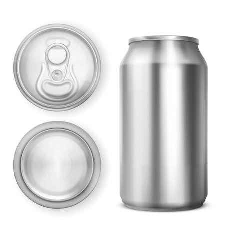 Aluminium can for soda or beer in front, top and bottom view. Vector realistic 3d mockup of blank metal tin can for drink with ring pull on lid isolated on white background