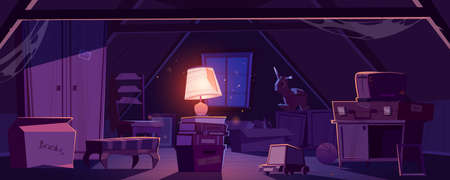 House attic at night, storage of old furniture and items under roof. Vector cartoon interior of dark attic room with vintage chair, broken closet, toaster, glowing lamp and cardboard box with books Ilustración de vector