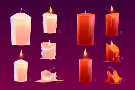 Cartoon candles burning motion sequence animation glowing and extinct lights with melted wax. Elements for spa, holidays, new year or christmas card and romantic date, isolated vector illustration set