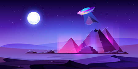 Ufo steal Egypt pyramids top in night desert, alien saucer pull piece of egyptian pharaoh tomb in light beam. Extraterrestrial invasion at ancient famous african landmark Cartoon vector illustration  イラスト・ベクター素材