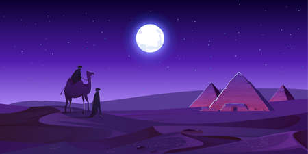 Bedouins walk to Egypt pyramids on camel at night desert. Egyptian pharaoh tomb complex in Giza plateau illuminated with mystic moonlight under starry sky. Cartoon vector ancient african landmark