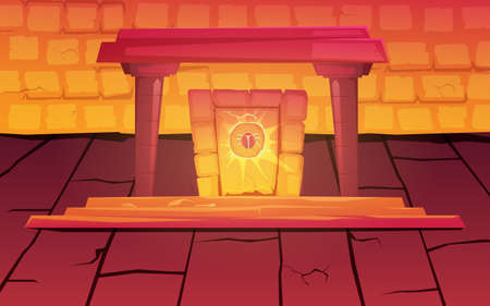 Magic ancient egypt portal with symbol of scarab and mystic light inside pyramid or pharaoh tomb. Vector cartoon game background with stone room, arch and obelisk with beetle sign
