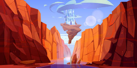 Magic blue castle on rock flying above river in canyon. Vector cartoon fantasy illustration of mountain landscape with water stream in gorge and royal palace with clouds around towers