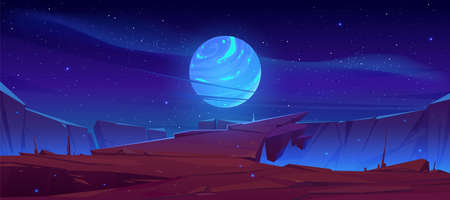 Alien planet surface, futuristic landscape background with glowing moon or satellite above rock cliff in dark starry sky. Fantasy mountains, book or computer game scene, Cartoon vector illustration Vectores
