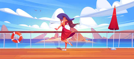 Woman on cruise liner deck or quay on seascape view, girl in summer dress and hat relax on ship or sailboat in ocean. Summertime vacation journey on passenger vessel, Cartoon vector illustration