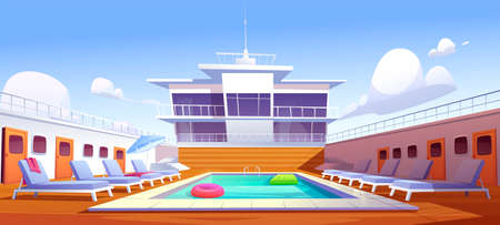 Swimming pool on cruise liner, empty ship deck with sun loungers, wooden floor and door portholes. Modern luxury sailboat in sea or ocean. Passenger vessel with water pond, Cartoon vector illustration Illusztráció