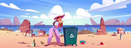 Woman collects trash to garbage bin on sea beach. Concept of environmental problems, ecology and ocean pollution. Vector cartoon illustration of volunteer clean up waste for recycle on sea coast