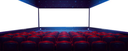 Movie theater, cinema hall with white screen and rows of red seats rear view. Empty interior with light blank screen, chair backs and illumination on ceiling and floor, Cartoon vector illustration 向量圖像