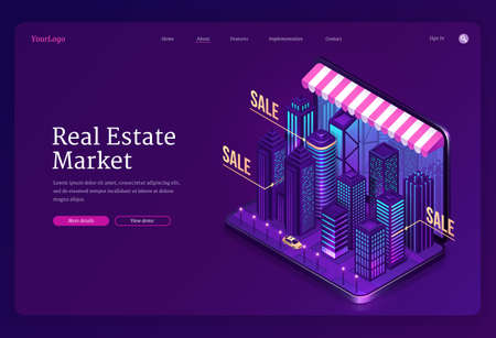 Real estate market banner. Online service for search house and apartments for sale or rent. Vector landing page with isometric city buildings and skyscrapers on laptop screen