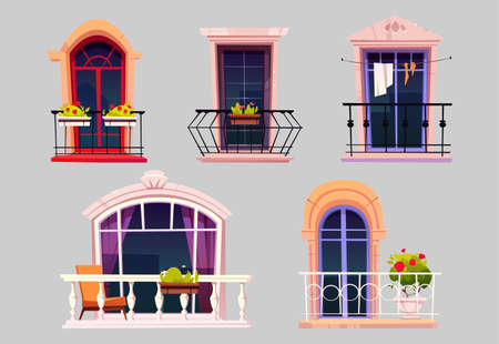 Vintage balconies with glass doors, windows, flowers in pots and fences. Vector cartoon set of balconies with metal railing and white balustrade, chair and plants on terrace. House facade elements 矢量图像