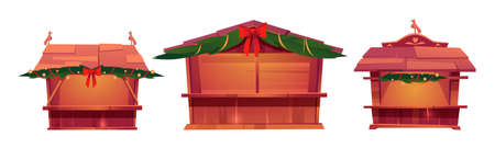 Christmas market stalls, wooden festival kiosks for sale food, gifts, tickets or souvenirs. Vector cartoon set of traditional fair booths with pine branches, red bows and lights garlands