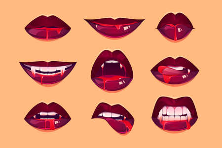 Vampire mouth with fangs set. Female closed and open red lips with long pointed canine teeth and bloody deip saliva express different emotions isolated on yellow background Cartoon vector illustration Ilustración de vector
