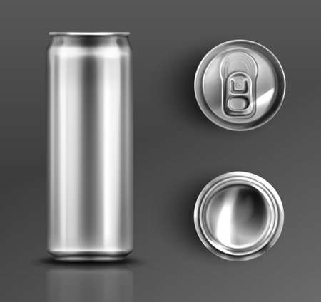 Tin can with open key front, top and bottom view set. Cylinder metal jar with lid, silver colored aluminium canister for cold drinks isolated on grey background, Realistic 3d vector icons, clip art
