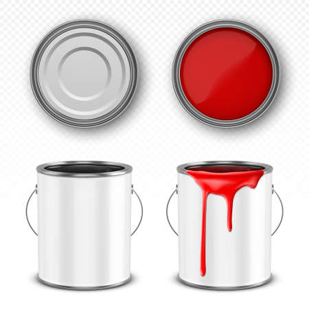 Paint metal bucket, tin can with red ink in front, top and bottom view. Vector realistic 3d mockup of blank steel container with handle and paint drips isolated on transparent background
