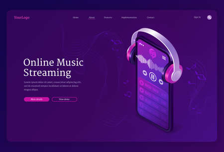 Online music streaming service isometric landing page. Playlist in smartphone audio player application and headphones playing mp3 stream with notes on stave around. 3d vector concept for web banner