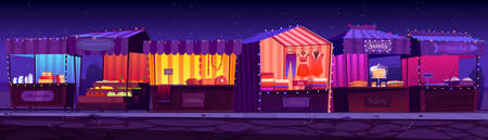 Night fair, outdoor market stalls, booths and kiosks with striped awning, clothes or food products. Wood illuminated vendor counters for street trading, city retail places, cartoon vector illustration
