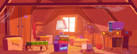 Attic room with old things, garret on roof with window and furniture. Discreet place with carton boxes, kids toys, toaster and couch with books and wardrobe, ball and lamp. Cartoon vector illustration