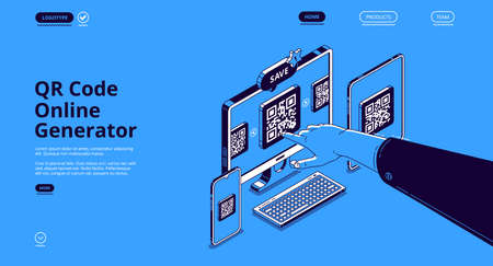 QR code online generator. Mobile app, digital service for generate qrcode for electronic payments, identification and display information. Vector landing page with isometric devices and pointing hand 矢量图像
