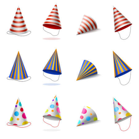 Party hats, birthday colorful caps with stripes and polka dots pattern, carton cones for bday or anniversary celebration isolated on white background, Realistic 3d vector illustration, icons set