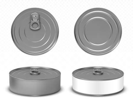 Round metal tin can for pet food, meat or fish isolated on white background. Vector realistic mockup of blank aluminum container with ring pull on lid and white label in front, top and bottom view
