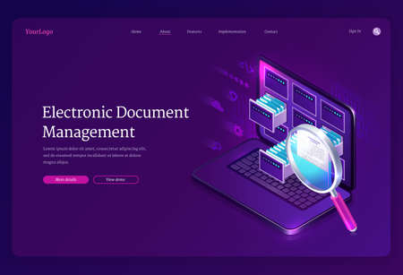Electronic document management banner. Online paperwork storage, digital system of organization and find docs. Vector landing page of manage business papers with isometric laptop and magnifier Ilustración de vector
