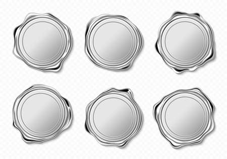 Silver wax seals for letter, guarantee or certificate. Vector realistic set of blank round wax stamps, metal circle label for lock envelope with confidential mail or press quality sign