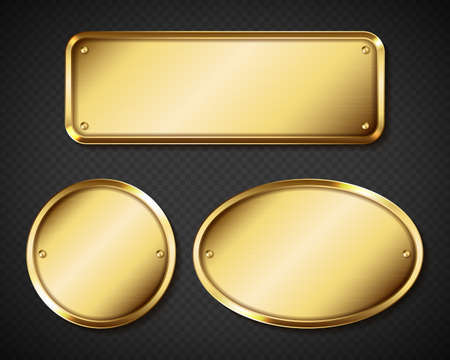 Gold or brass plates, golden name plaques empty mockup. Metal identification tags or badges, round, oval and rectangular frame for nameplate isolated on transparent background, realistic 3d vector set