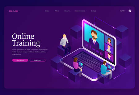 Online training banner. Digital service for internet education, distance study. Vector landing page of elearning with isometric laptop with teacher on screen and learning people