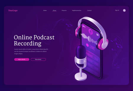 Online podcast recording banner. Record radio broadcast, audio interview, live talk. Vector landing page of podcasting business with isometric microphone, smartphone and headphones