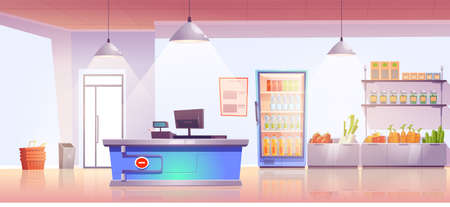 Grocery store with cashier desk empty shop interior with production on shelves and cold drinks in refrigerator, fresh vegetables. Product market, local food retail place, Cartoon vector illustration