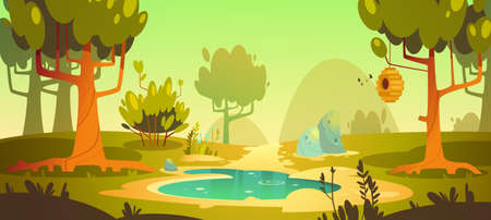 Cartoon forest background with pond or swamp and trail, nature landscape with trees, green grass and bushes. Beautiful scenery view, summer or spring wood or park area with plants, vector illustration