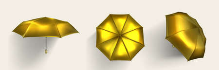 Gold umbrella, golden parasol top, side and front view with shadow, luxury accessories for protection of rain or sun beams, shiny yellow shield isolated on white background, Realistic 3d vector set