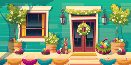 House facade with easter decoration on door and wooden porch. Colored eggs in nests, cute bunny and flower garlands on home wall. Vector cartoon building exterior with terrace and steps in spring 矢量图像