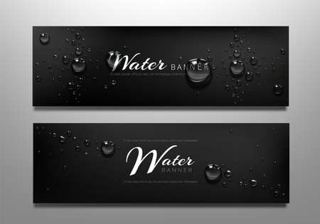 Water drop banners, black background with liquid bubbles or aqua spheres. Horizontal wet backdrop, abstract template for advertising, graphic design concept with realistic 3d vector scattered droplets 矢量图像