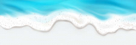 Top view of sea wave foam splashing border. Blue ocean foamy water splash isolated on transparent background. Natural nautical frame, spume or froth design element, realistic 3d vector illustration Vecteurs